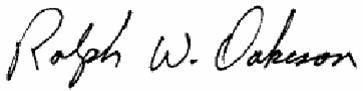 Signature - Ralph W. Oakeson